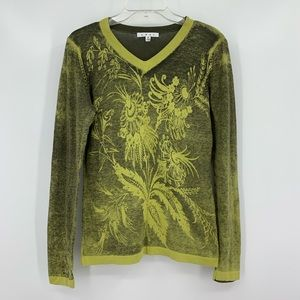 CAbi Papyrus Green Floral Print V-Neck Sweater